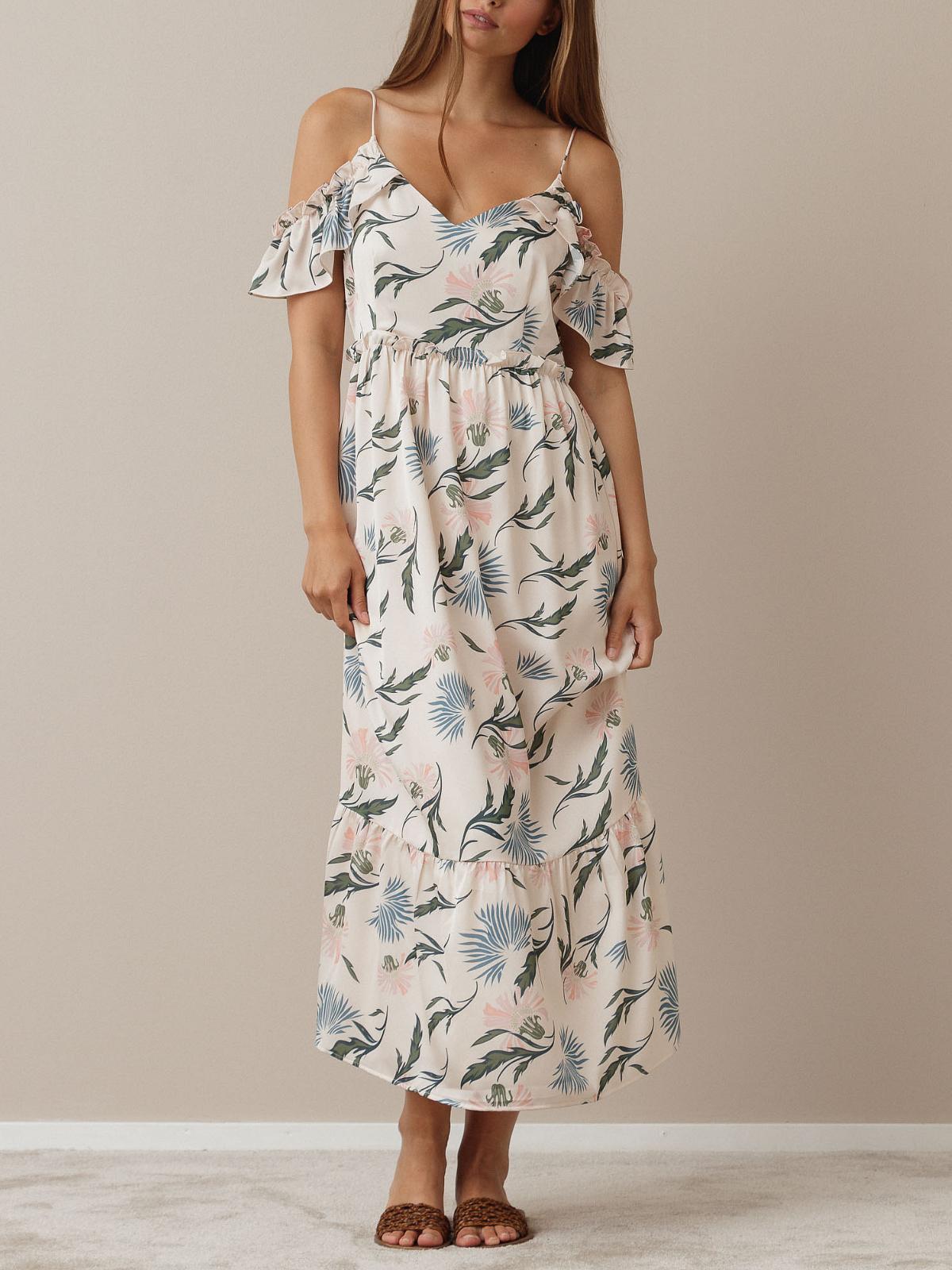 Maui Dress Creme Jungle Print
