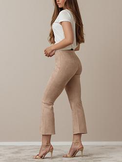 Flarry Trousers Beige Faux Suède