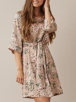 Katie Dress Beige Flower Print